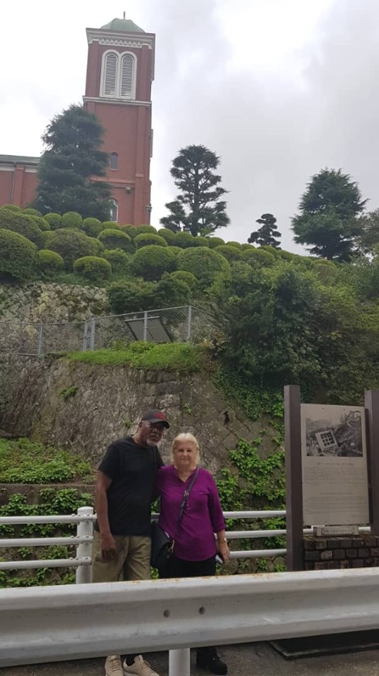 Tali and I in front of ruins of church Nagasaki